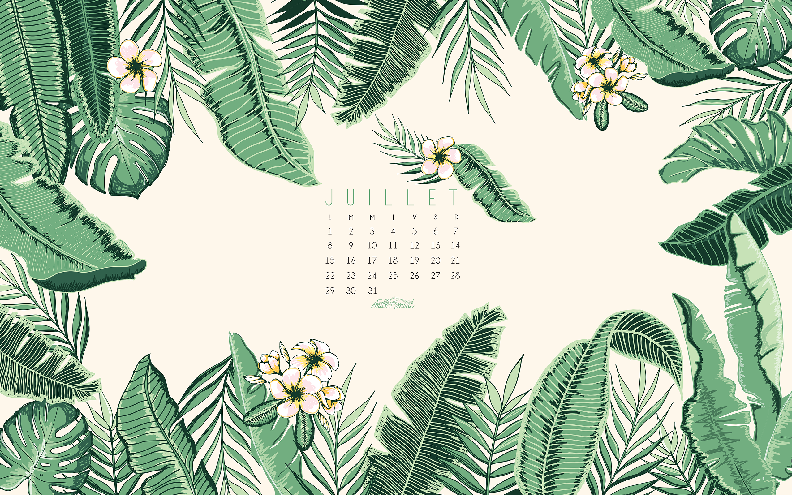 Fonds D Ecran Juillet 2019 July 2019 Wallpaper Calendar